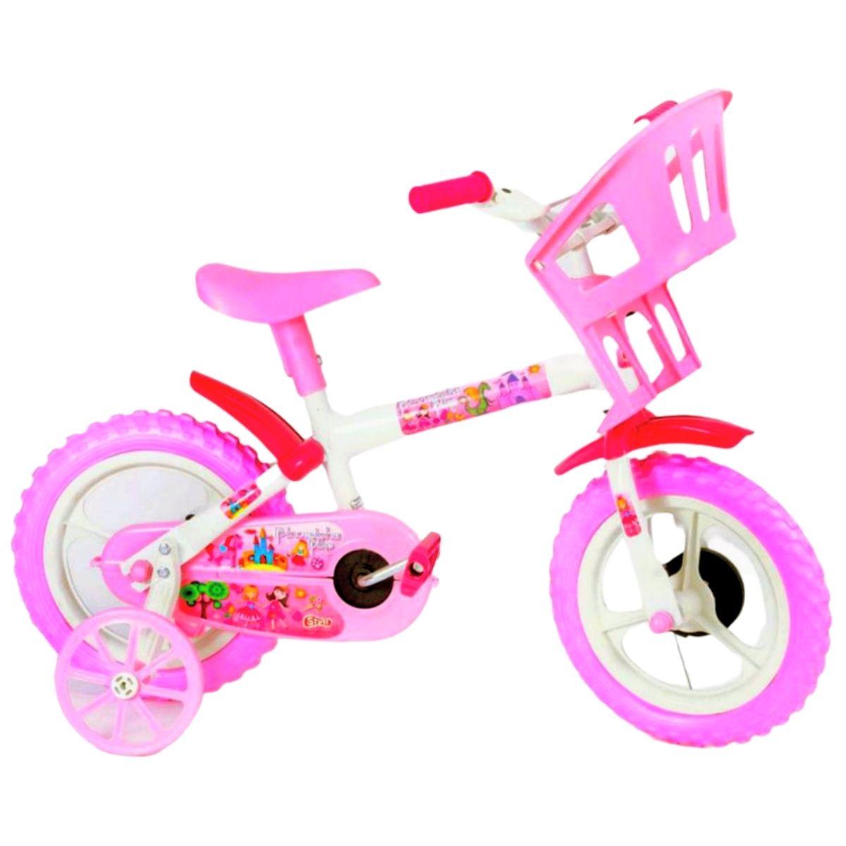 Bicicleta Infantil Styll Baby Princesinhas Aro 12 Freio Tambor Cor Rosa/branco