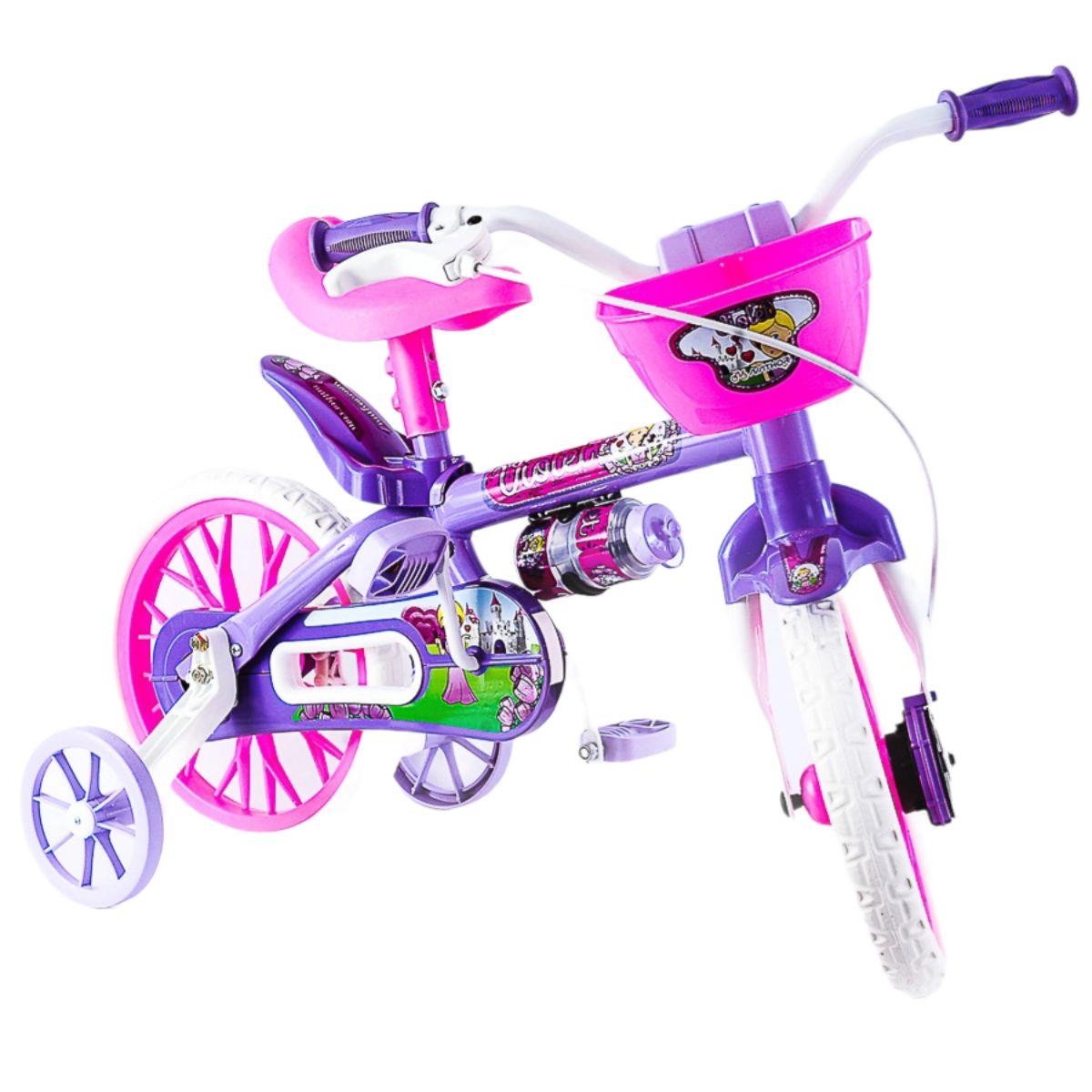 Bicicleta Infantil Menina Aro 12 Rosa/Branca/violeta -Nathor