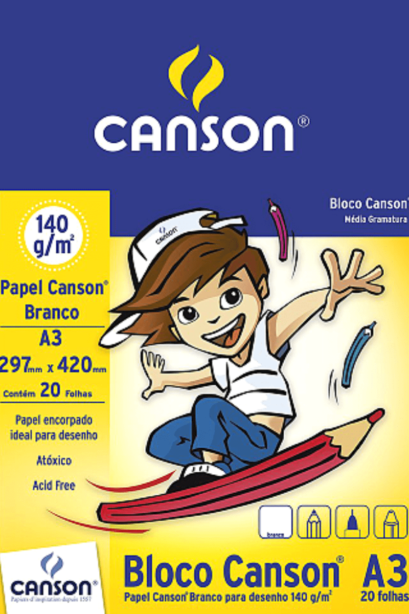 Bloco Canson A3 20 folhas Branco 140g/m² - Canson