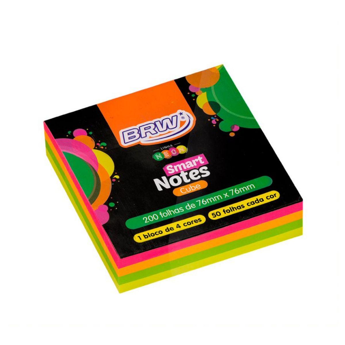 Bloco de Anotações 76x76mm Neon com 4 cores - BRW