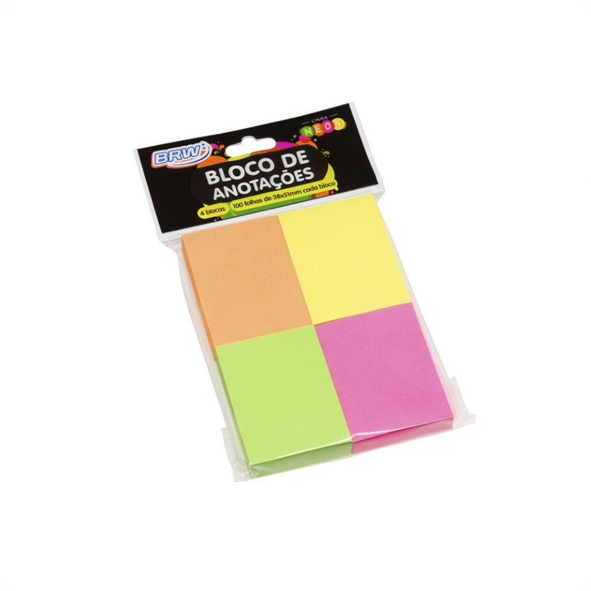 Bloco de Anotações Neon com 4 Cores - BRW