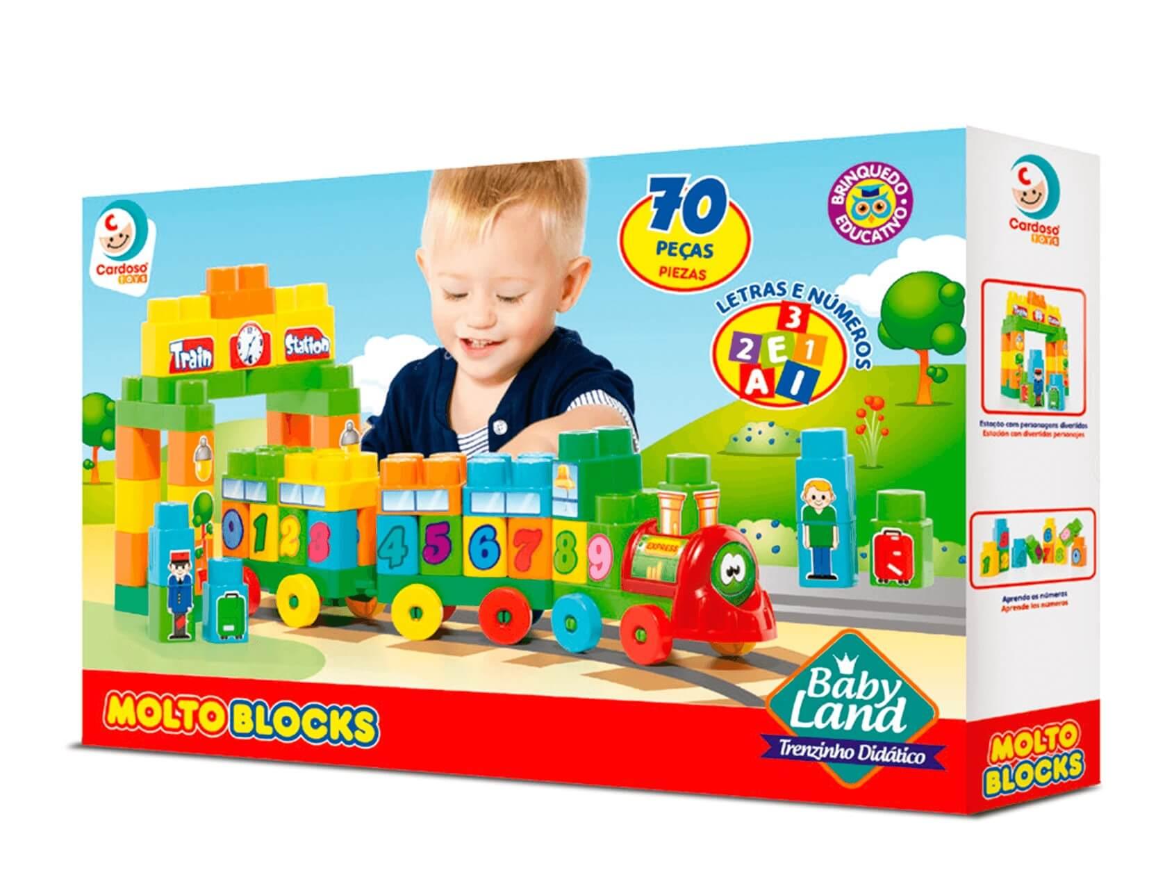 Bloco de Montar Baby Land Trenzinho Didatico 70P - Cardoso
