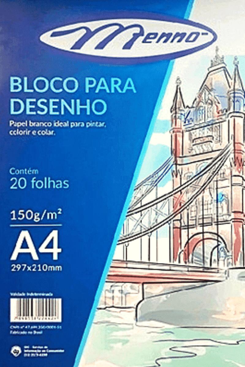 Bloco p/ Desenho A4 150/m² Branco - Menno