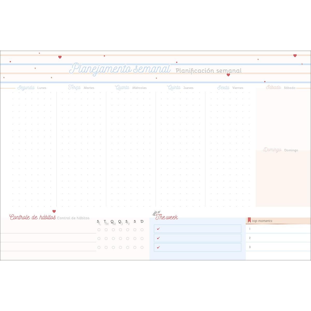 Bloco Planner Semanal Soho para Agendamento