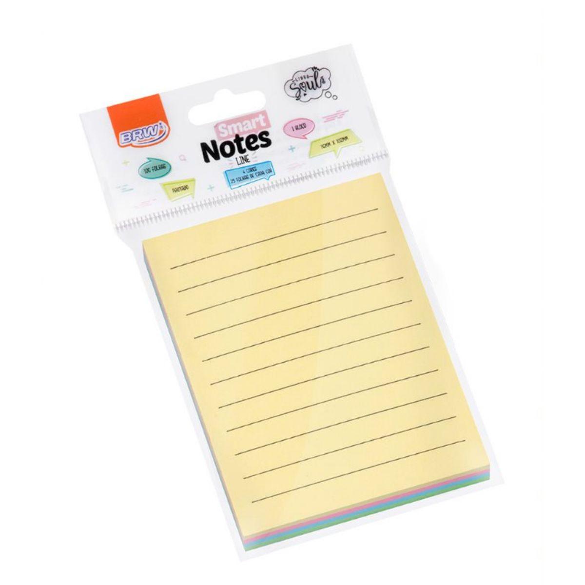 Bloco Smart Notes Pautados 76x102mm com 4 Cores - BRW