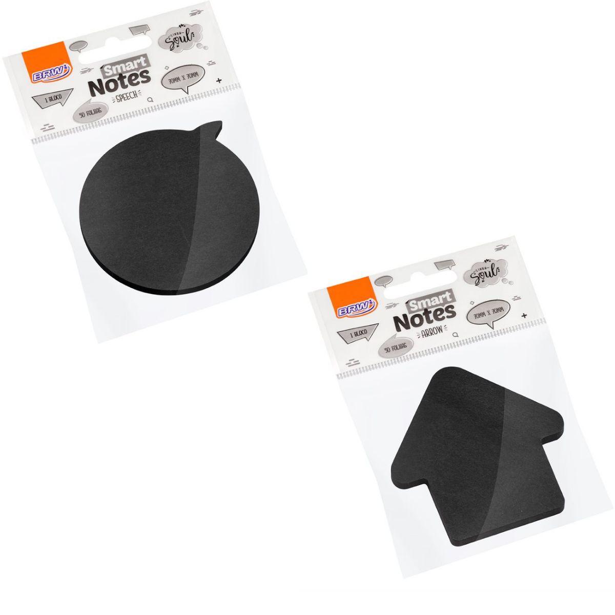 Bloco Smart Notes Preto 70x70mm com 50 folhas - BRW