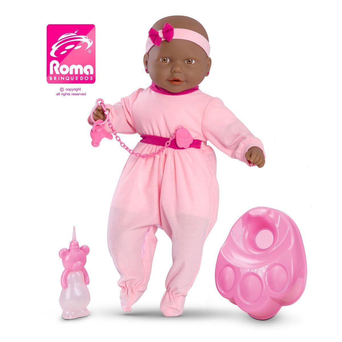 Boneca Bebê Mania Xixi Negra Recèm Nascida Grande Com Chupeta e Peniquinho