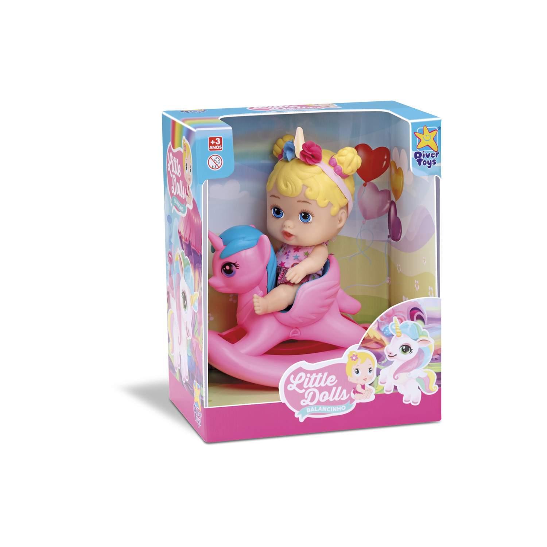 Boneca Little Dolls Balancinho Unicornio - Divertoys