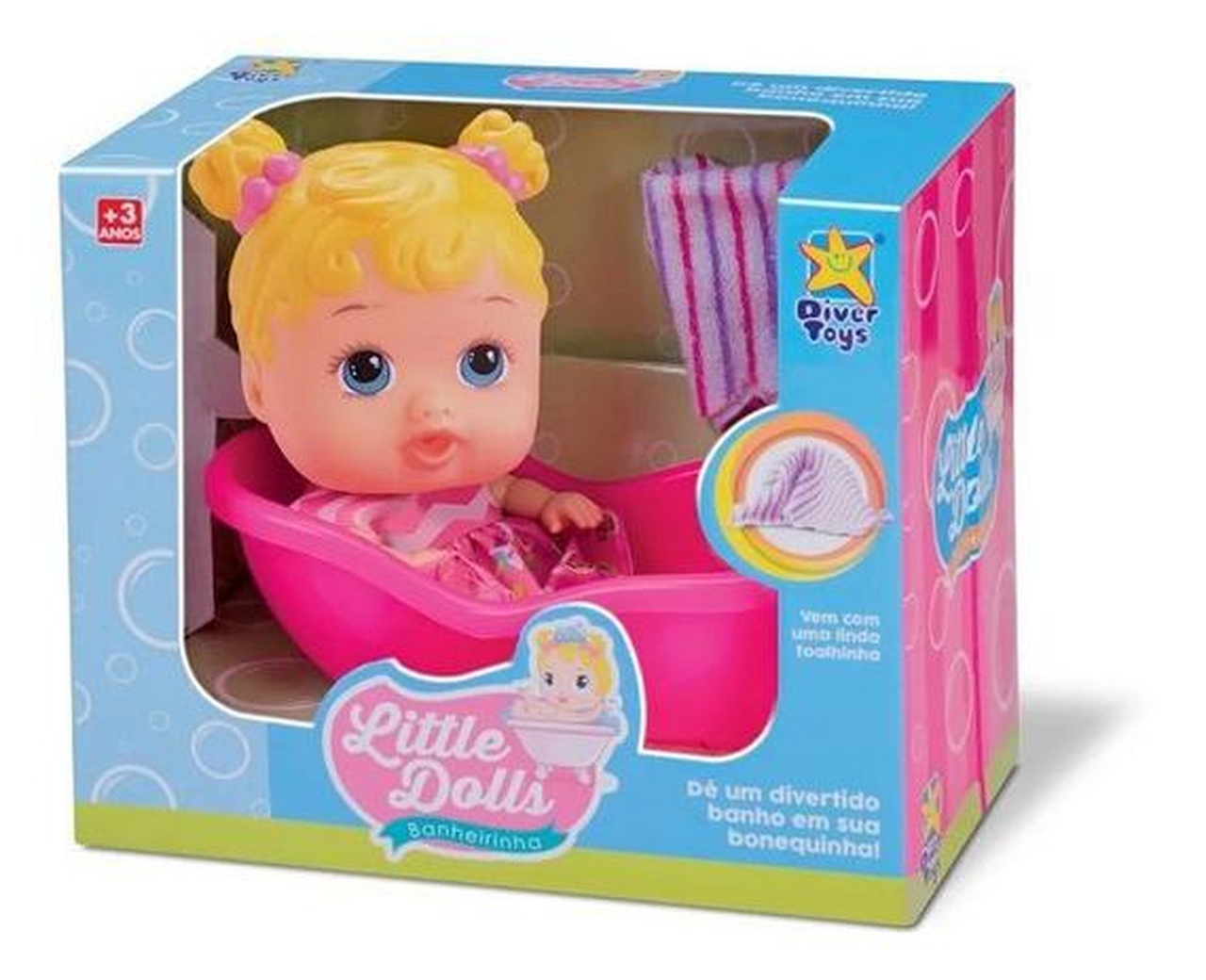Boneca Little Dolls Banheirinha Loira Divertoys - Ref.: 8022