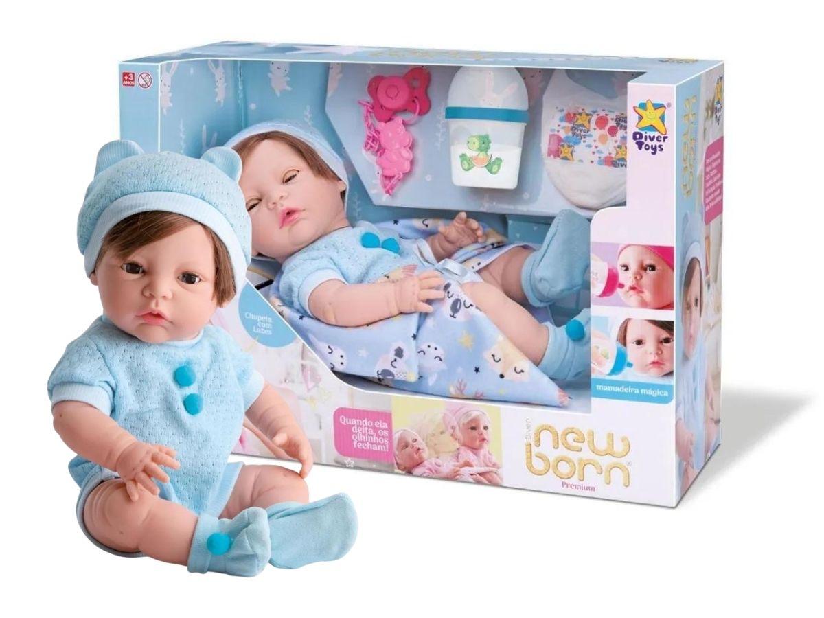 Boneca Menino New Born Premium Com Cabelo E Acessórios - Divertoys