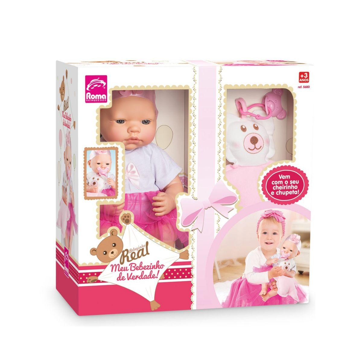 Boneca Meu Bebezinho de Verdade Com Cheirinho e Chupeta Rosa
