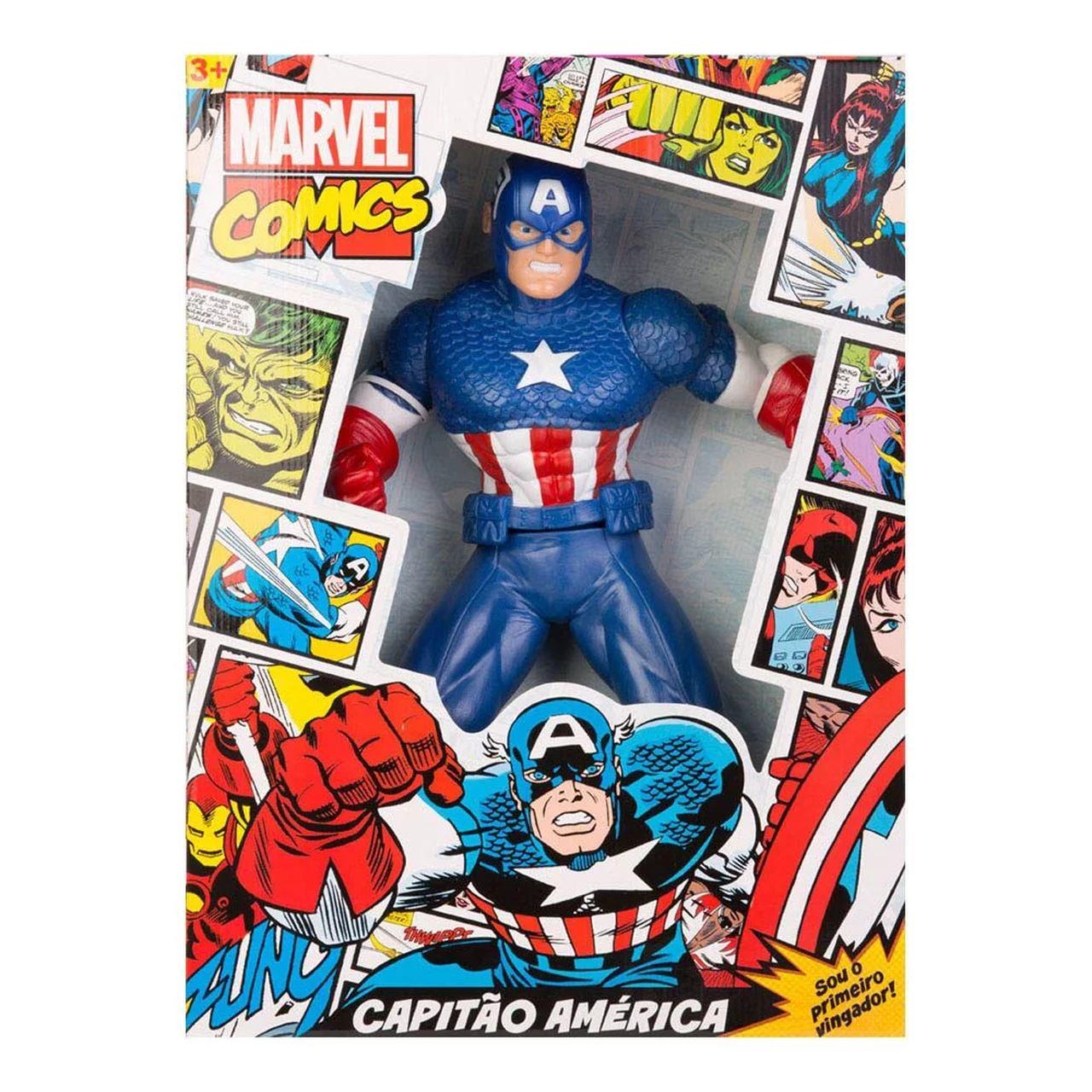 Boneco Capitão América Comics 50cm Oficial Mimo