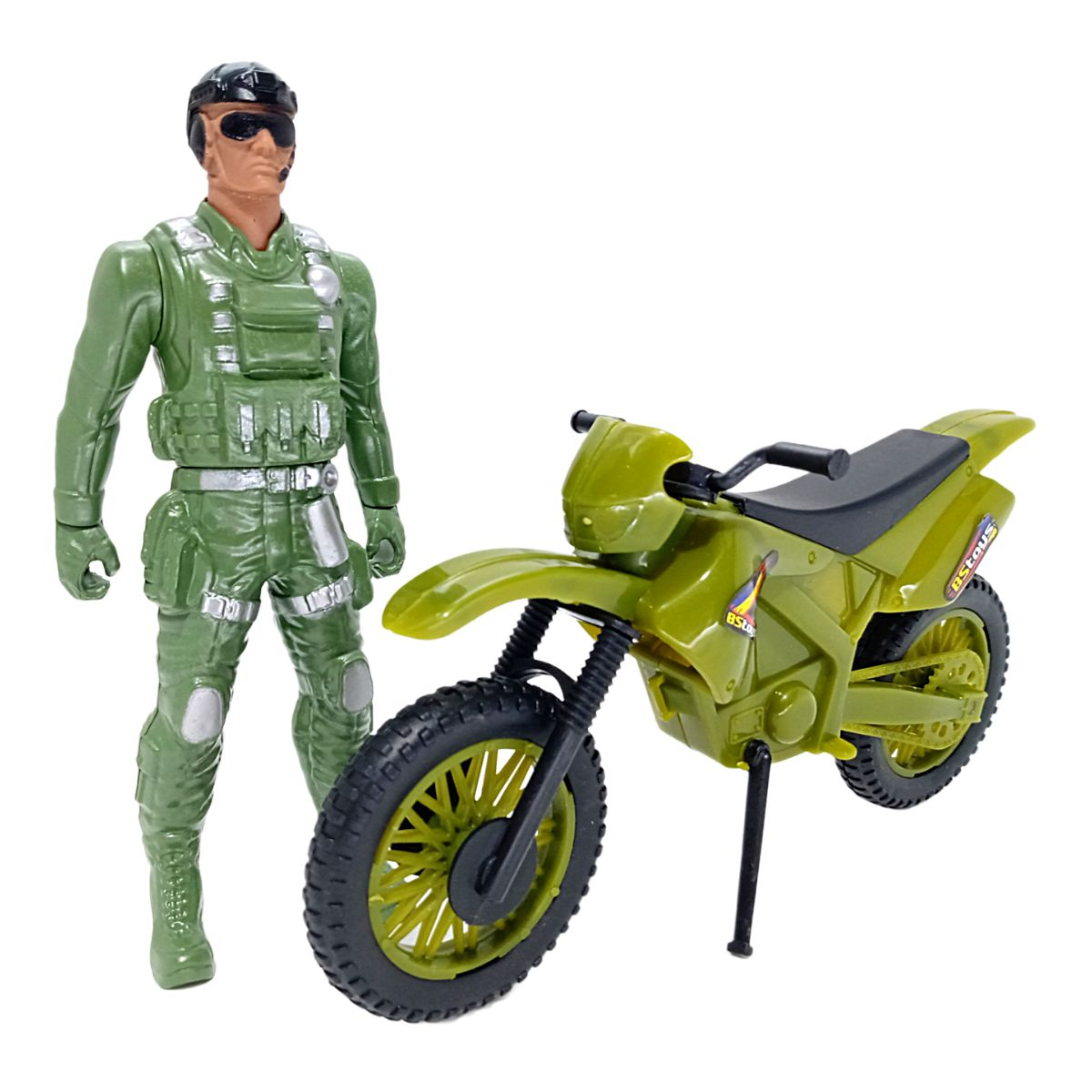 Boneco Fatal War Exército com Moto de Brinquedo Bs Toys