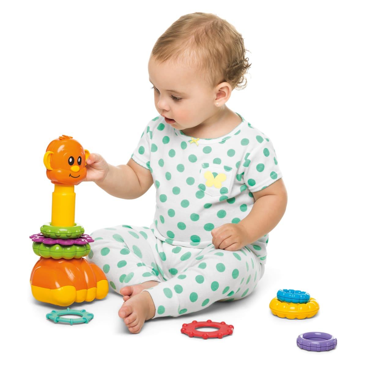 Brinquedo Infantil Zoo Argolas Encaixe Didático - Tateti