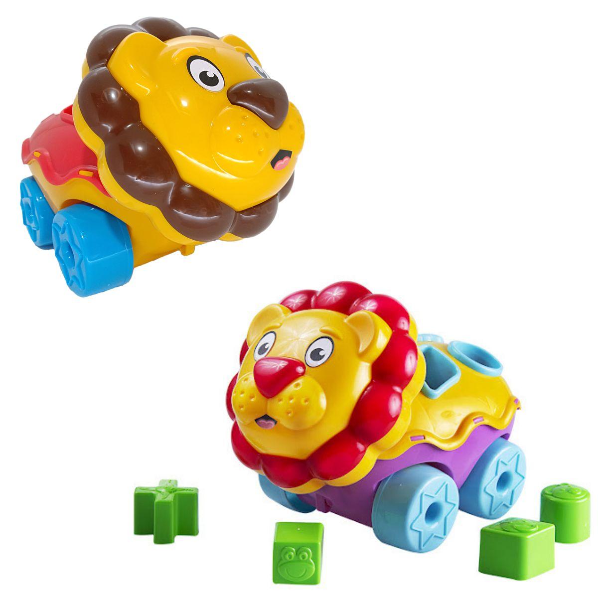 Brinquedo Leão Didático Bloquinhos Formas Geométricas Lion P/Bebês Bs Toys Cores Sortidas