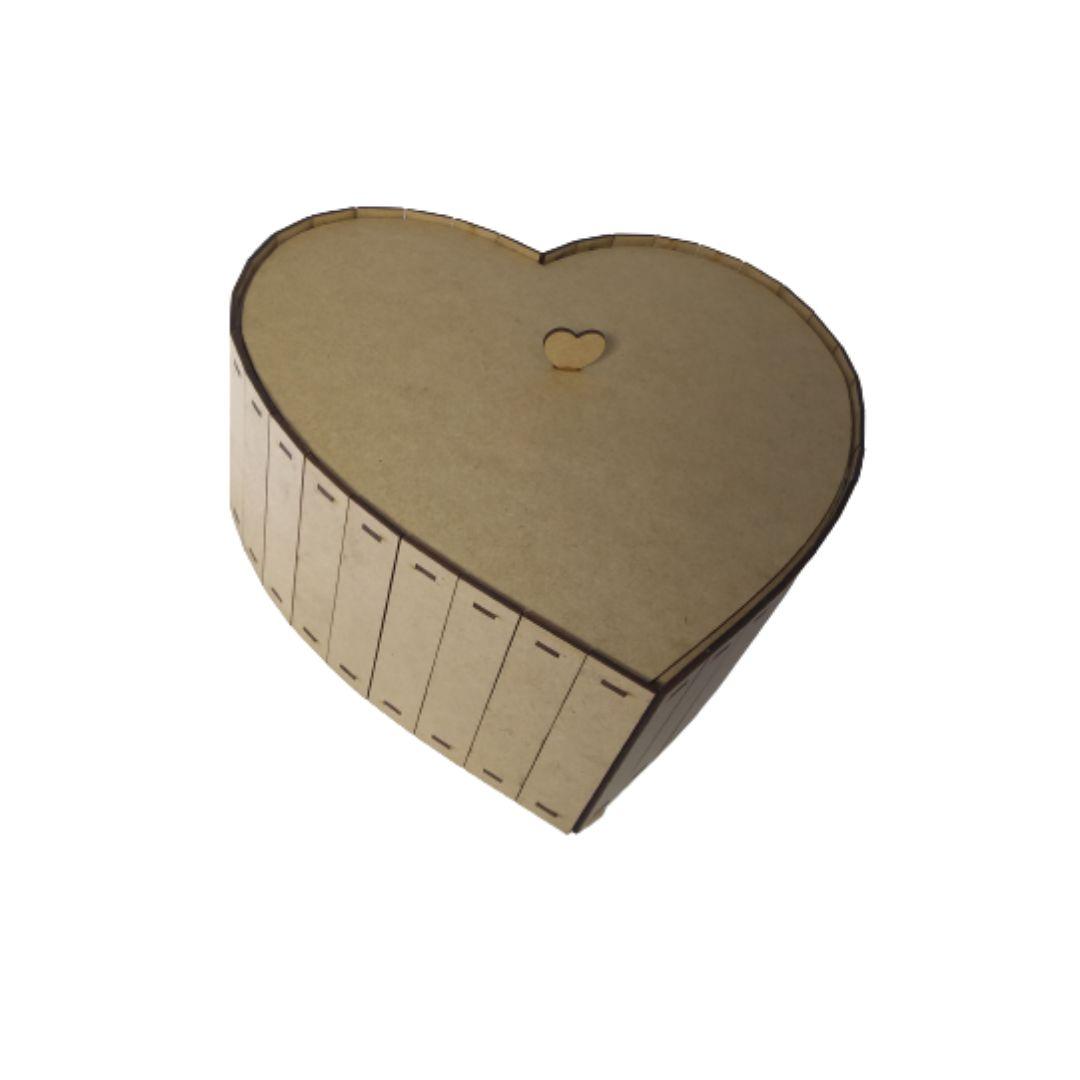Caixa de Coração Simples MDF Natural 30X30 Otimo Acabamento