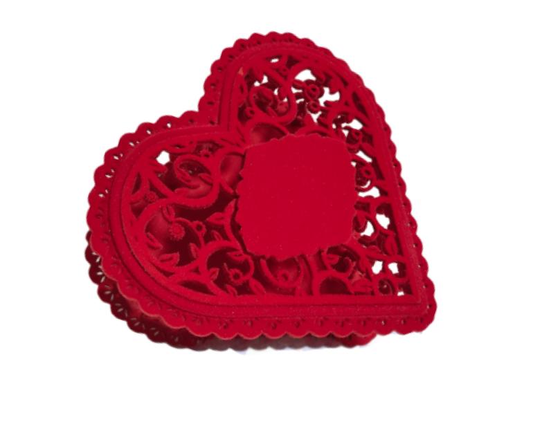 Caixa De Presente Coração Flocado Vermelho De Mdf Linda