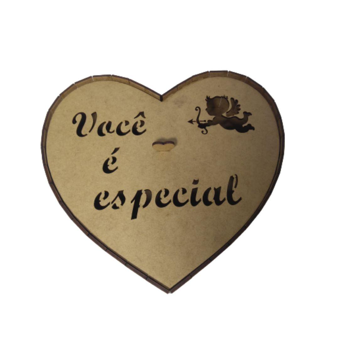 Caixa Coração Personalizada Você É Especial Cupido MDF 25X25