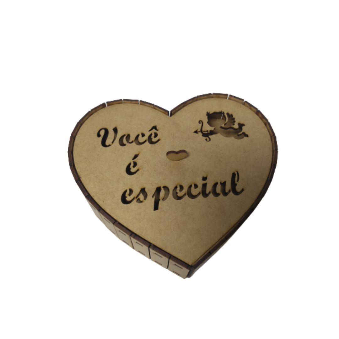 Caixa de MDF Natural Coração Você É Especial Cupido 20X20X5