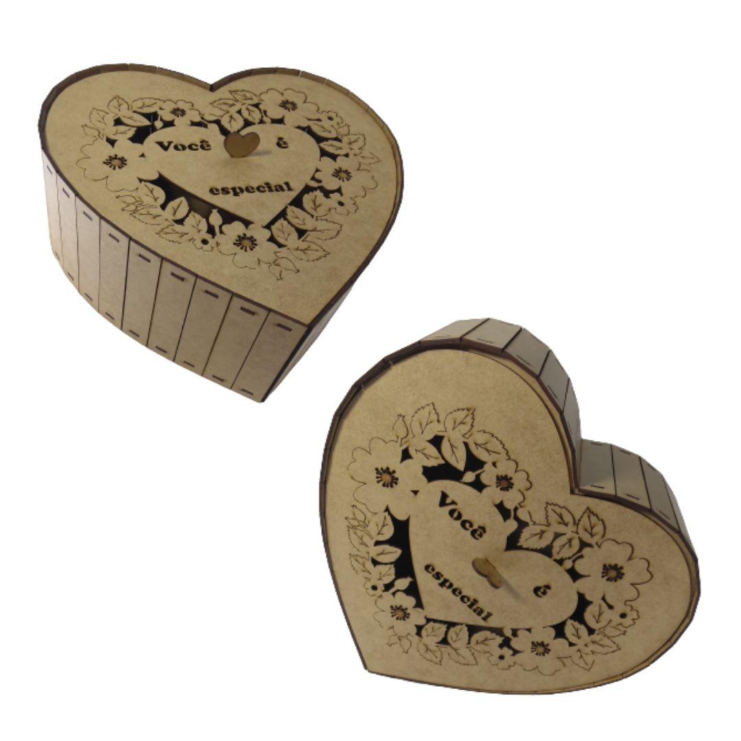 Caixa Personalizadas de Coração Você É Especial MDF 30x30X12