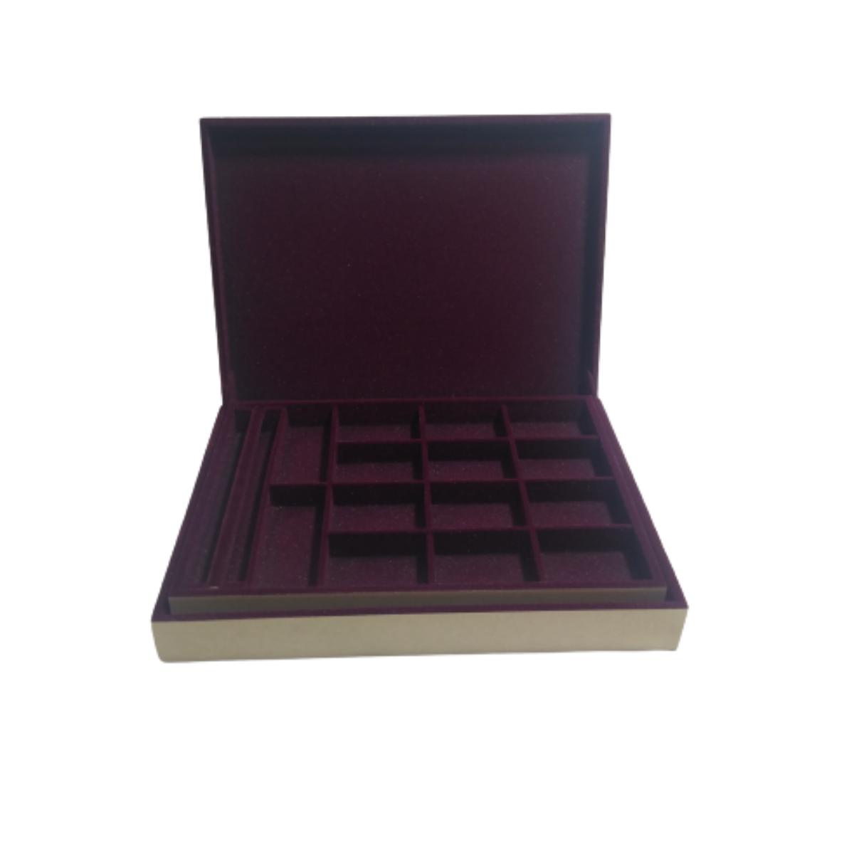 Caixa de maquiagem e bijuteria em MDF Flocada 35cm