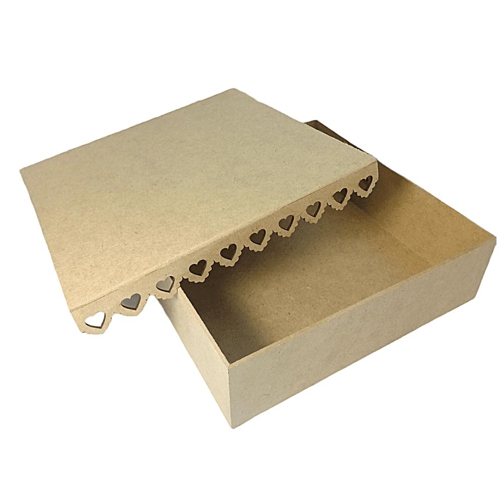 Caixa Presente MDF Borda Personalizadas De Coração -30x30x9
