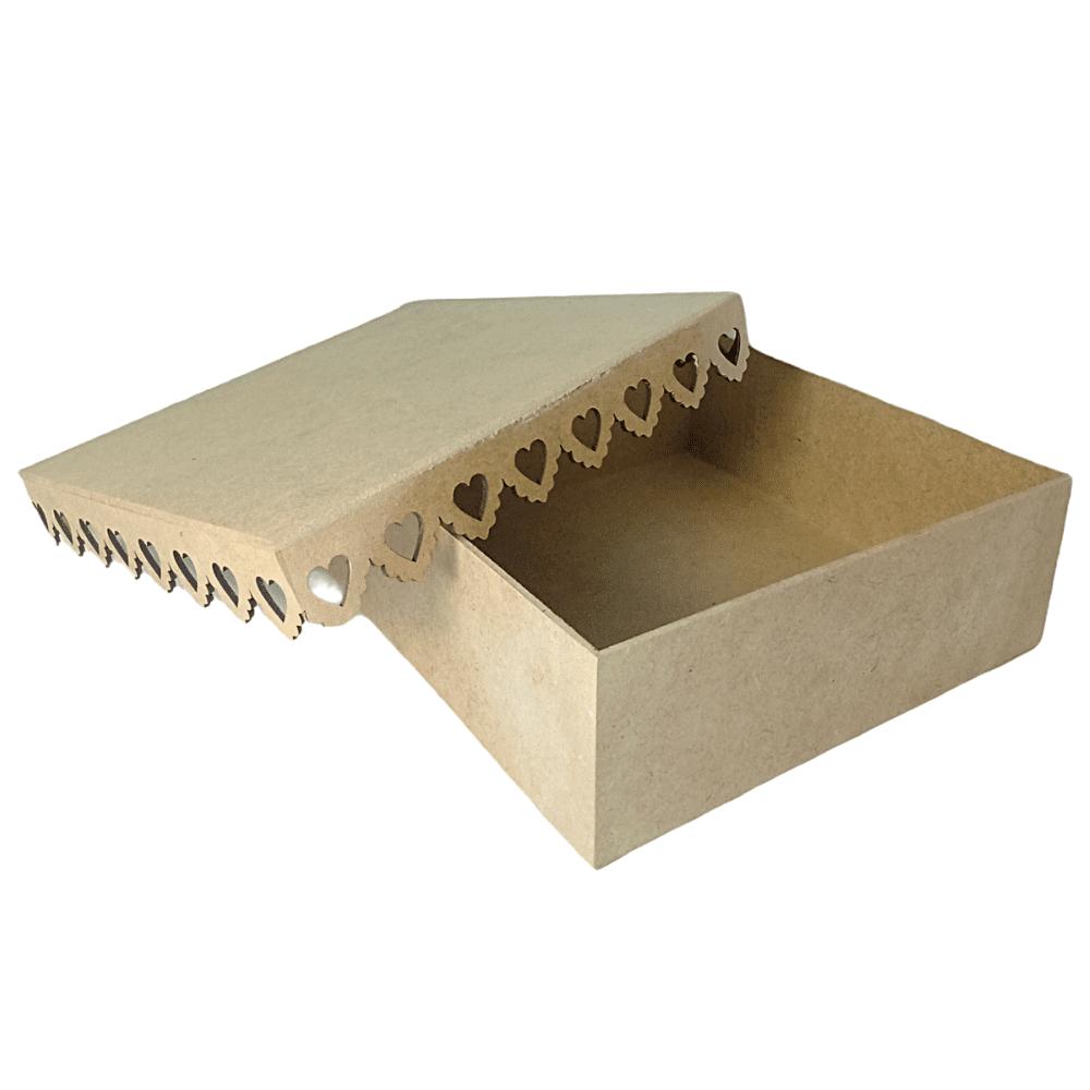 Caixa De MDF Com Borda De Coração - 25x25x9 Otimo Acabamento
