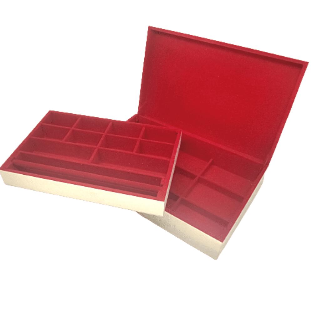 Caixa MDF Com Dobradiça 19 Divisórias e Bandeja Vermelha
