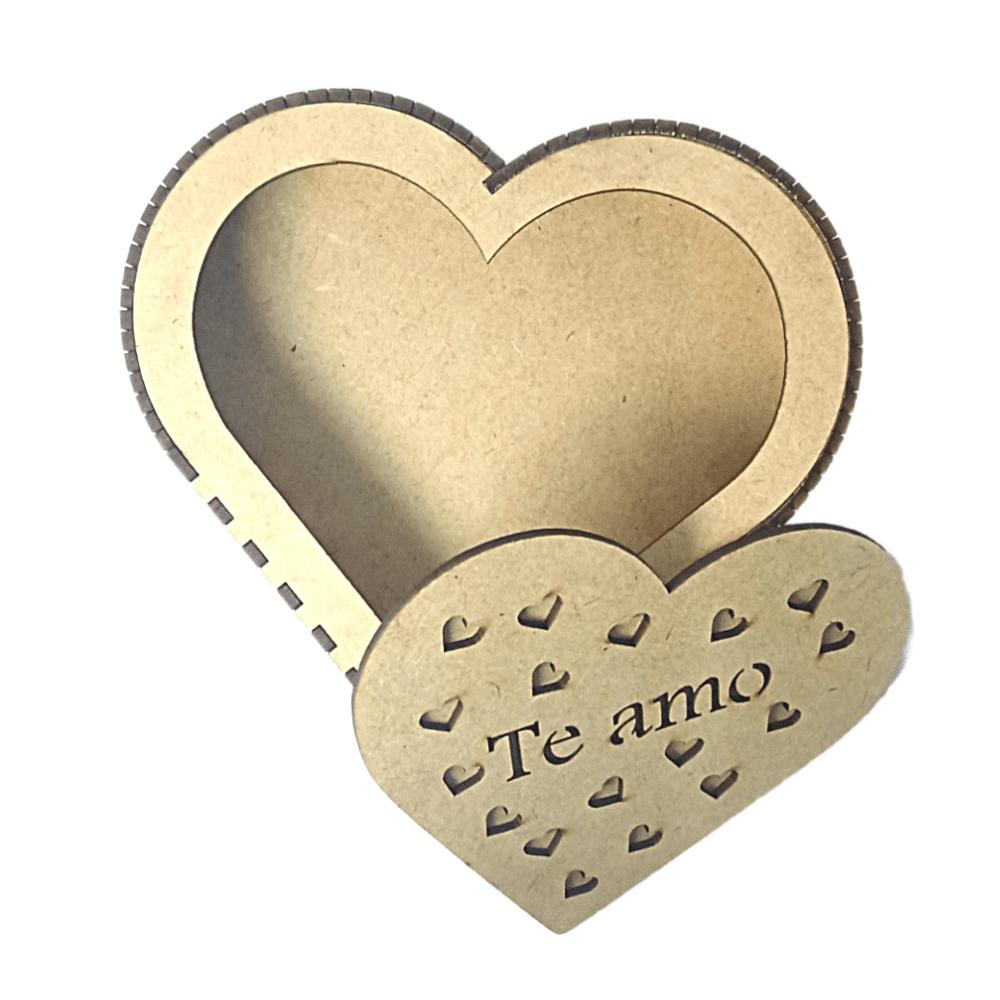 Caixa MDF Coração Decorada Te Amo 16x17x4