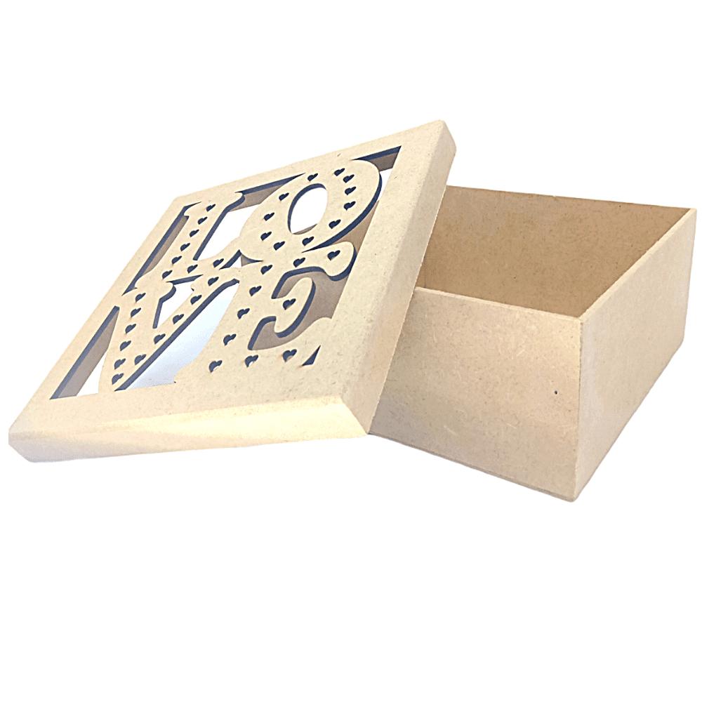 Caixa De Presente MDF Personalizada Love - 19x19x9 Muito Linda