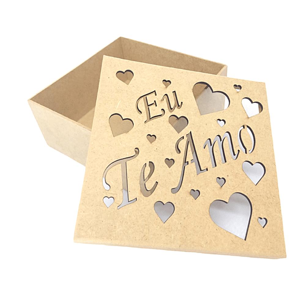 Caixa de MDF Personalizadas Corações e Eu Te Amo 16x16x6