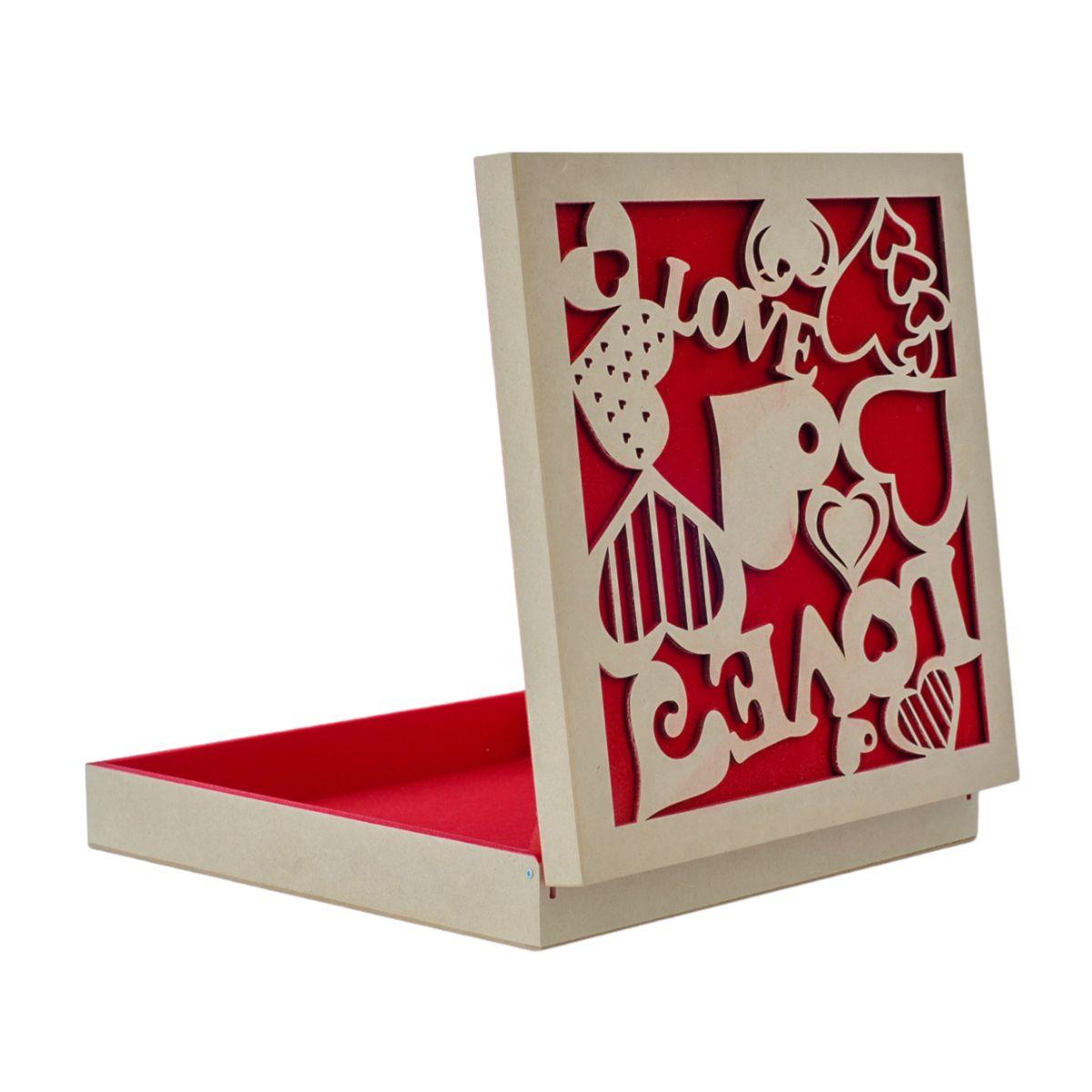 Caixa MDF Flocada Vermelha Com Dobradiça Dia dos Namorados