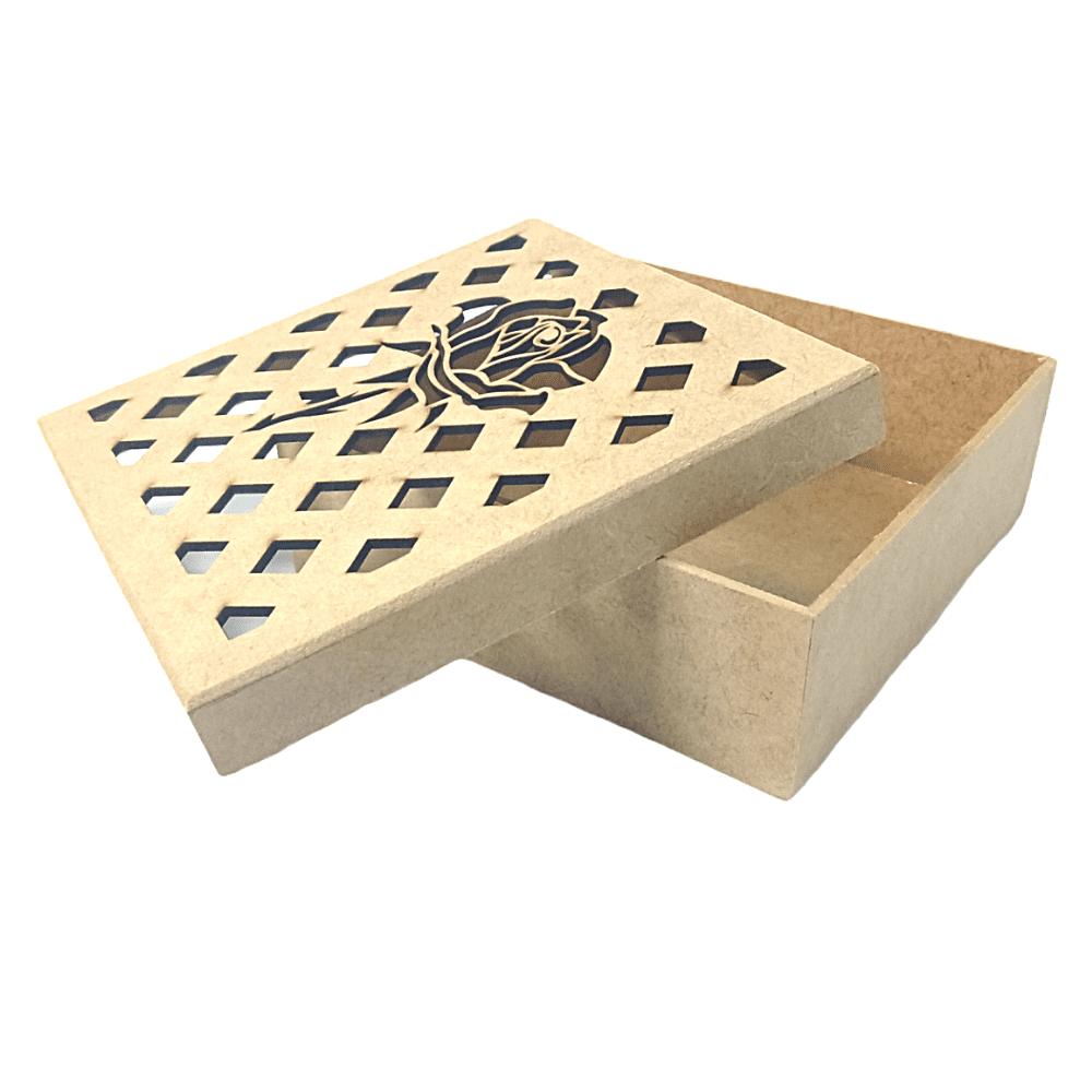 Caixa de MDF Personalizadas Rosa Com Losango na Tampa 19x19x8