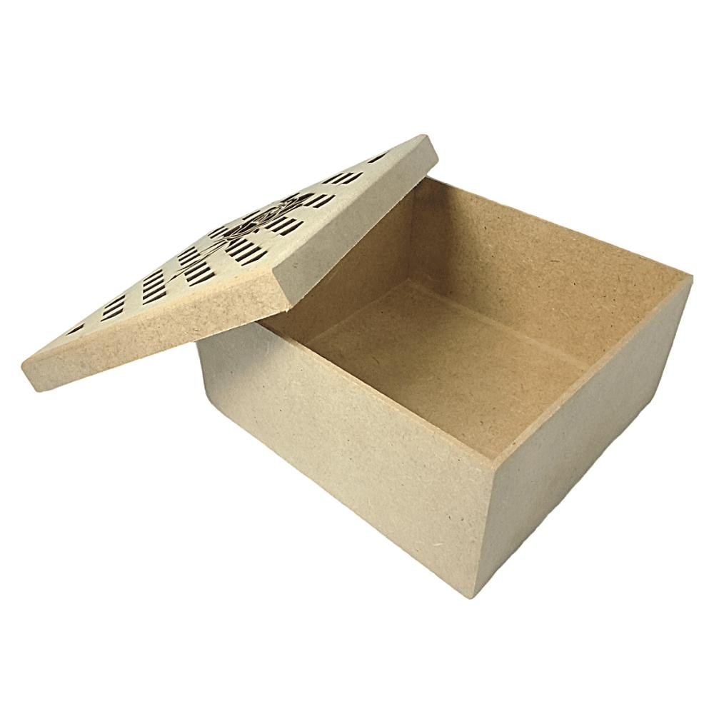 Caixa de MDF Personalizadas Rosa Com Losango na Tampa 16x16x6