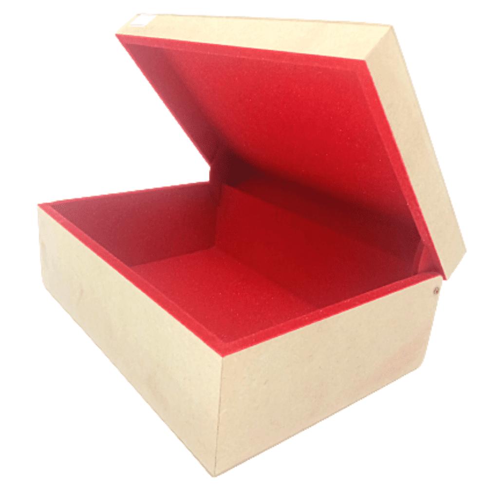 Caixa Média MDF Flocada Com Dobradiça Vermelha Vazada