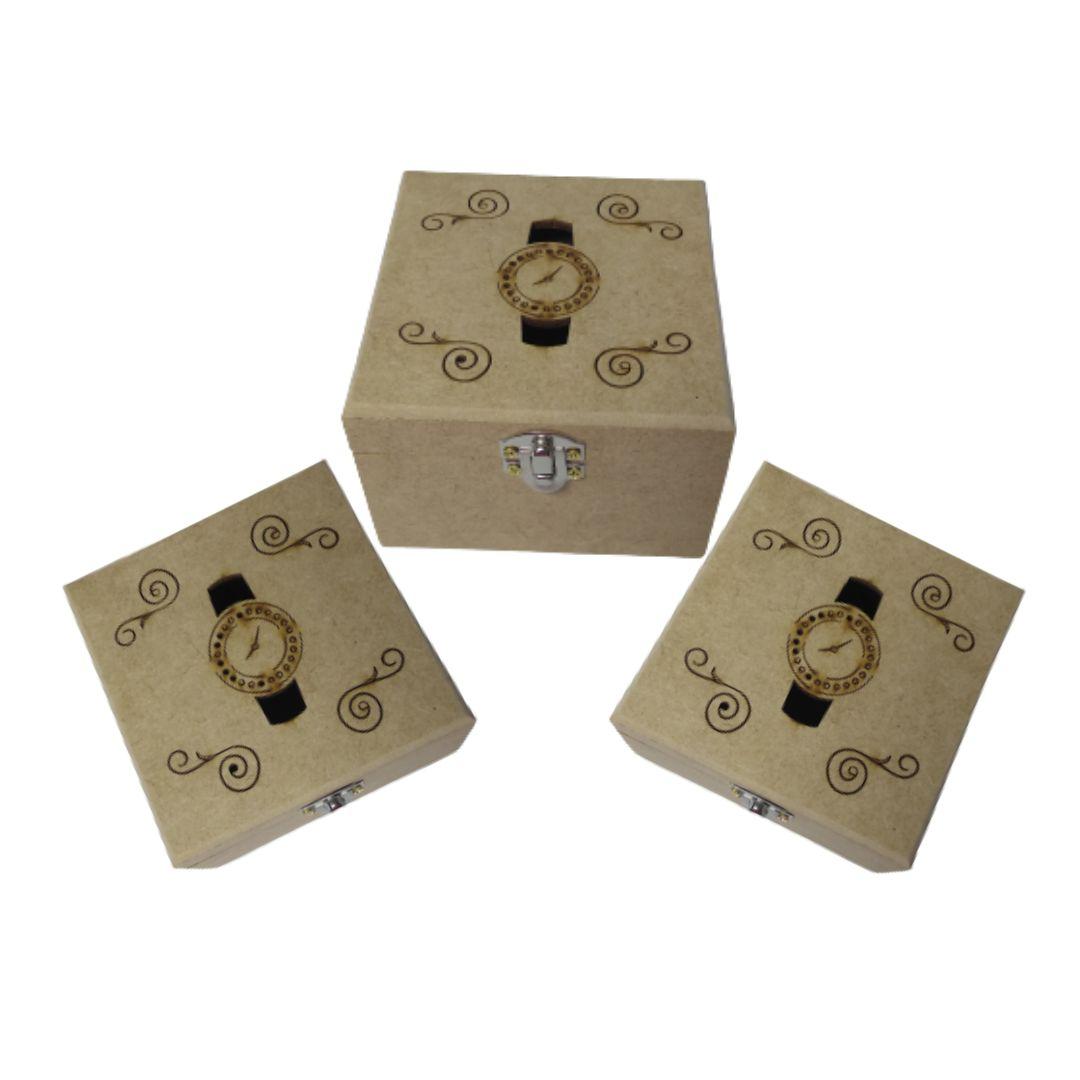 Caixa De Presente Mdf Natural Porta Relógio Personalizadas