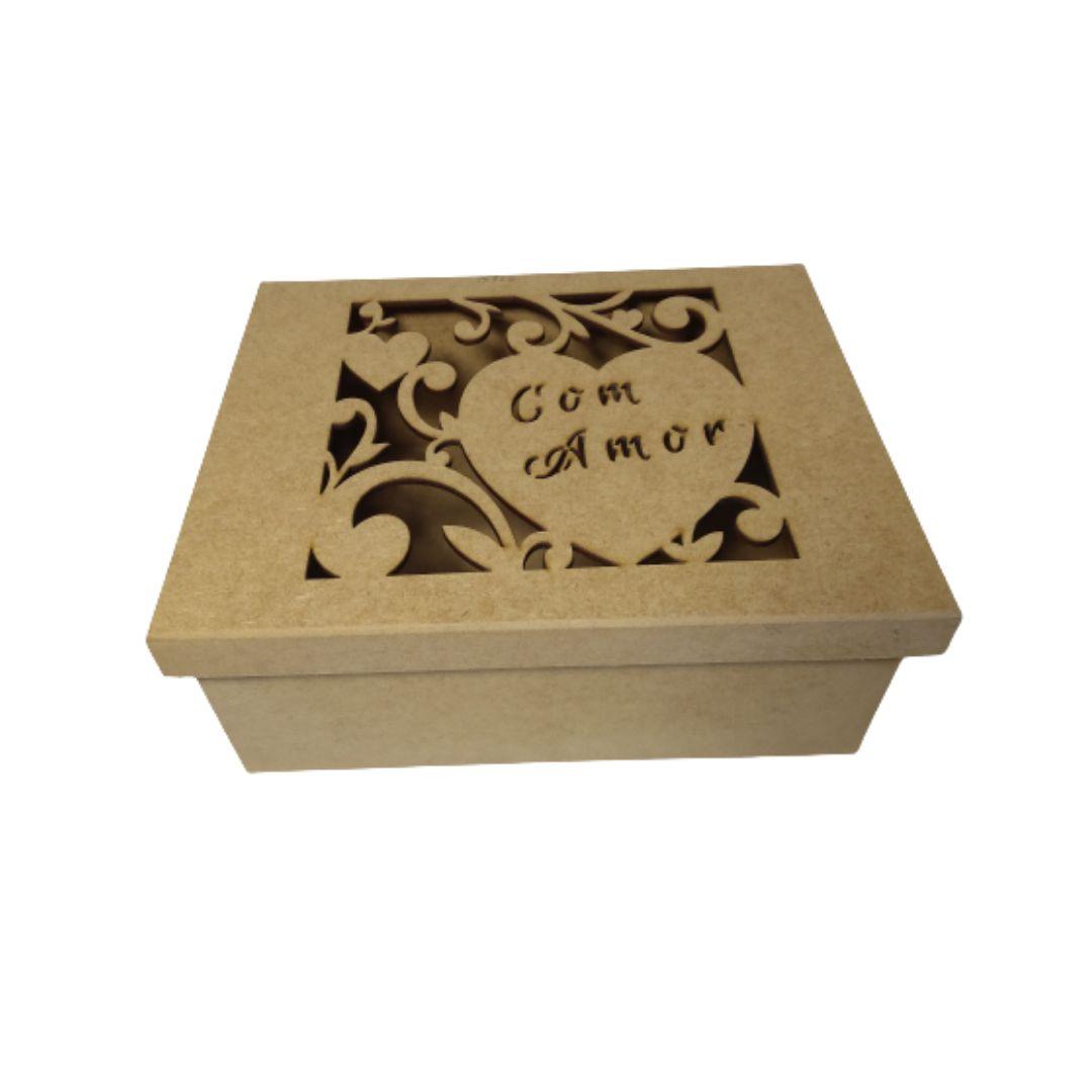 Caixa MDF de Presente Personalizadas Com Amor - 25x20x10 TOP