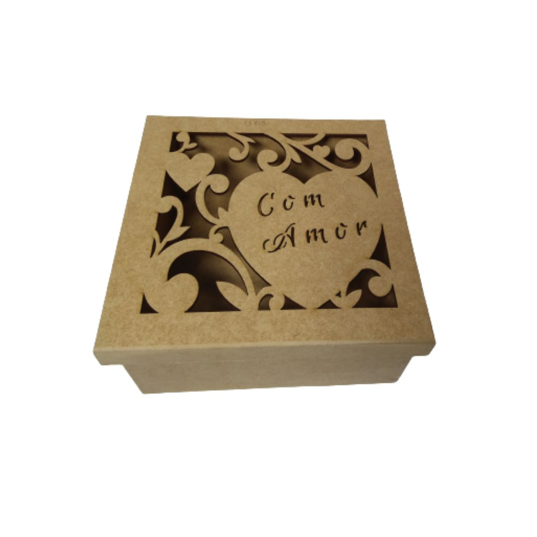 Caixa de Presente MDF Natural 20x20 - Personalizada Com Amor