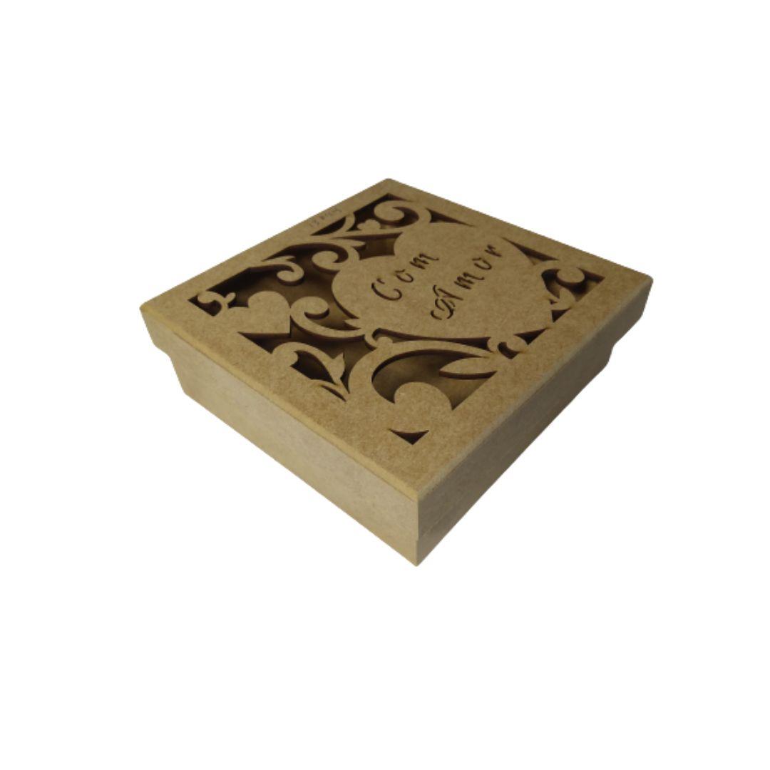 Caixa de Presente Personalizada Com Amor - MDF Natural 16x16x5
