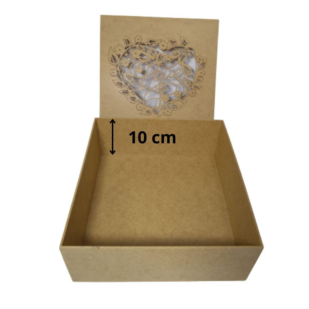 Caixa Personalizadas de Presente MDF Coração Love 25x25x10