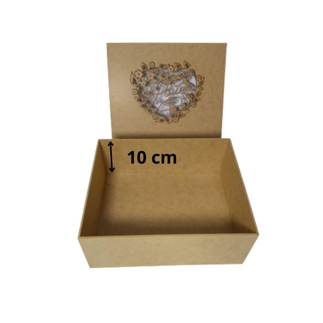 Caixa de Presente Love personalizadas MDF Natural 25X20X10