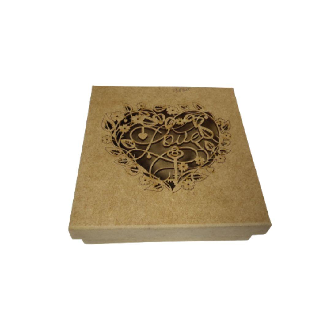 Caixa de Presente Personalizadas Love - MDF Natural 15x15x6