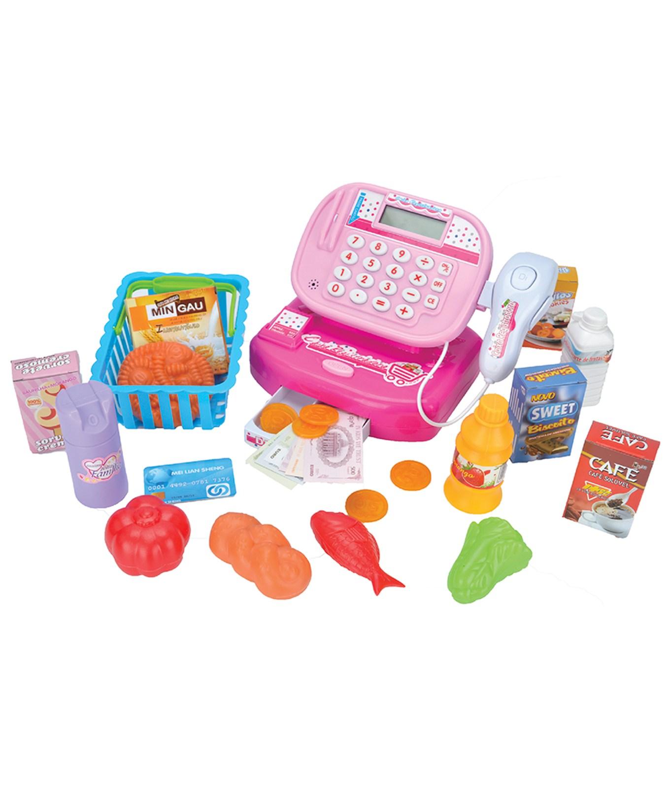 Caixa Registradora Infantil Rosa Com Leitor e Calculadora de Verdade Fenix