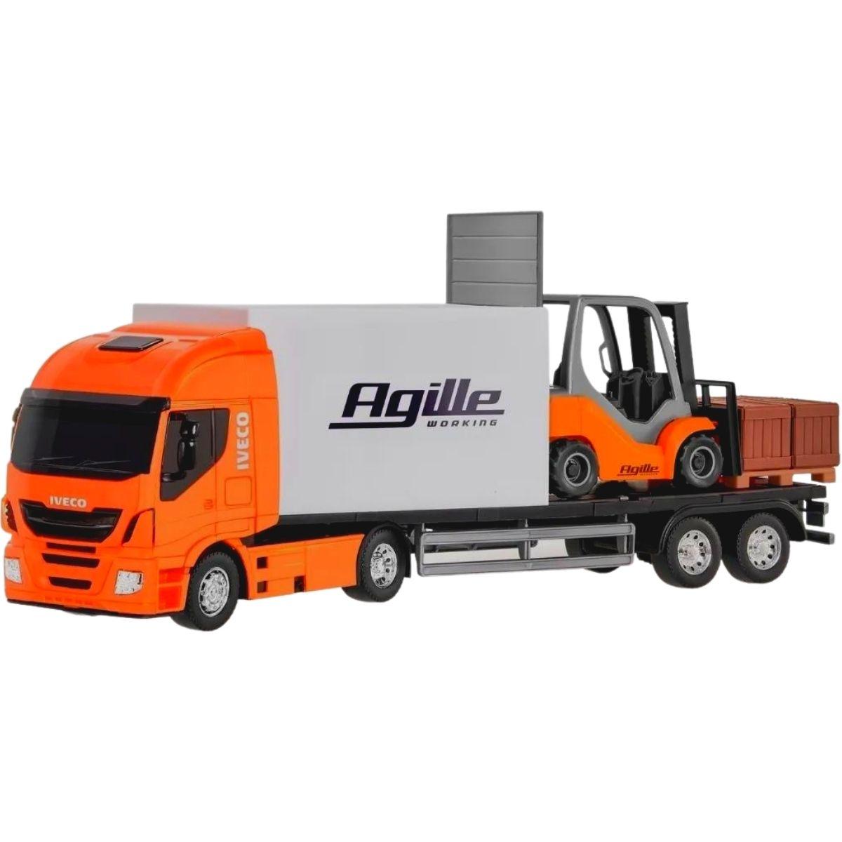 Caminhão Carreta Iveco C/empilhadeira Miniatura Agille Usual