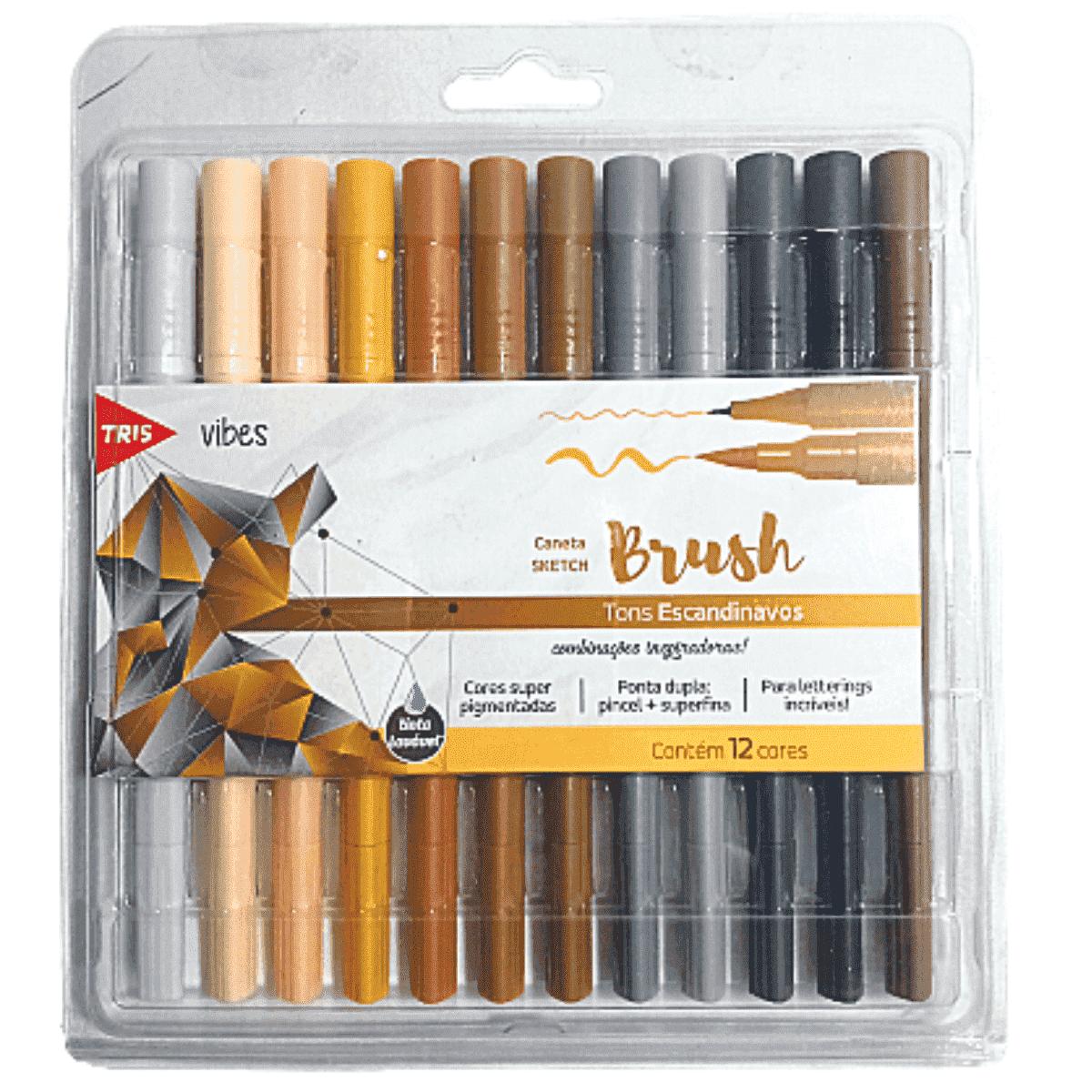 Caneta Pincel Brush Pen Tons Escandinavos - Tris