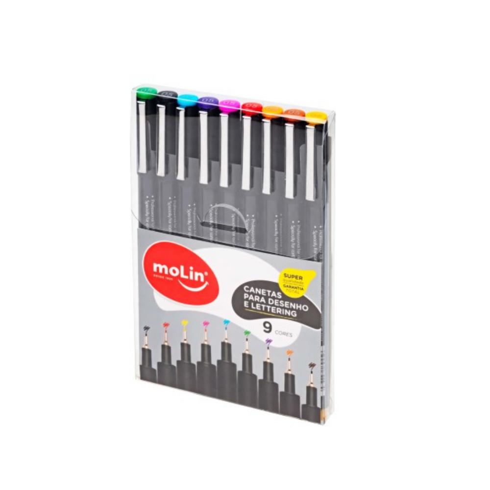 Canetas Para Desenho e Lettering com 9 Cores - Molin