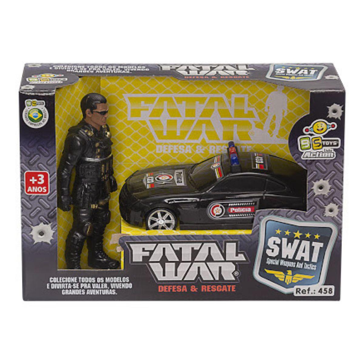 Carrinho de Brinquedo Fatal War Swat com Boneco Policial