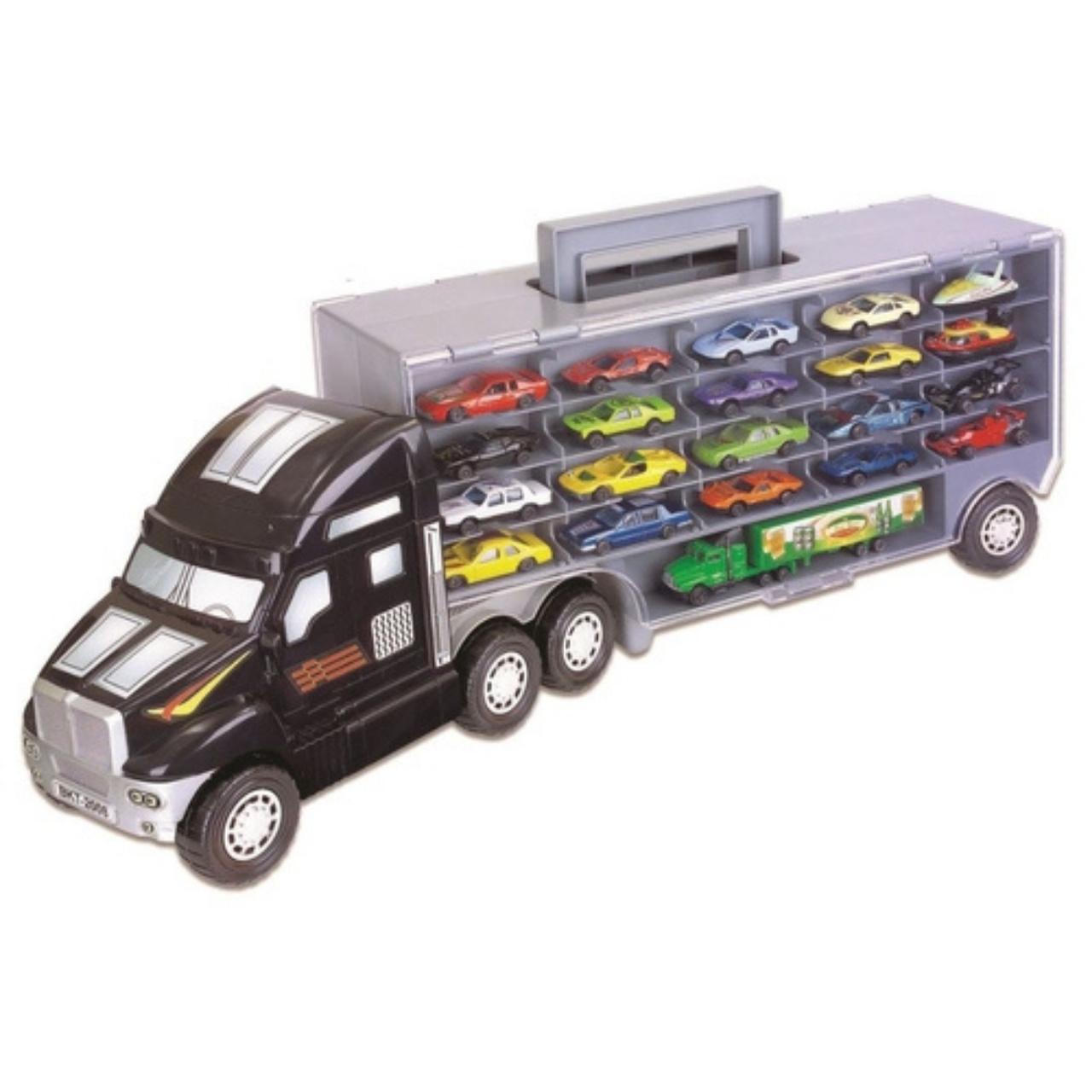 Caminhão Super Carreta C/20 Carrinhos De Metal +Mini Cegonha