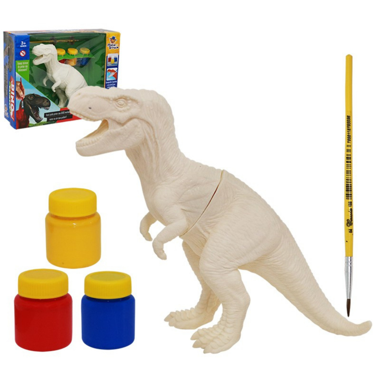 Dino Painter com 3 tintas guache e 1 pincel de pintura Dinossauro Rex