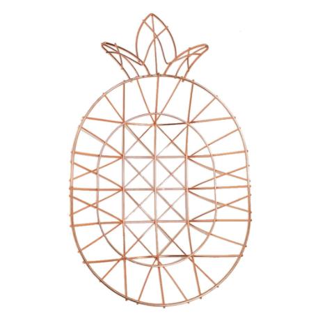 Fruteira De Mesa Aramado Abacaxi Metalizado Rose Gold  35cm FWB